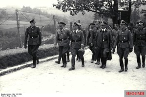 Klingenberg (far left) with Heinrich Himmler and other SS officers on tour of Mauthausen-Gusen concentration camp, June 1941.