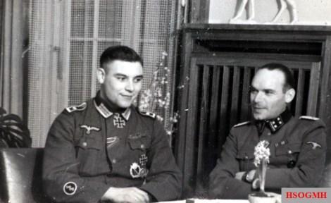 From left to right: Sanitätsfeldwebel Franz Schmitz and SS-Obersturmbannführer Dr.-med. Ferdinand Berning in April 1944.