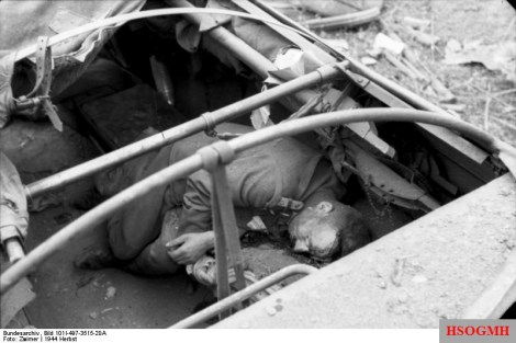 A German casualty of an Allied air strike, 23 September 1944.