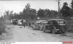 A German picture of an Allied airstrike against a German column near Arnhem, 23 September 1944.