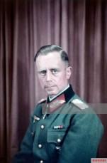 Generalleutnant Hermann Flörke in a studio picture by Walter Frentz after he met with Adolf Hitler at Führerhauptquartier Wolfsschanze on September 1944, not long after he received the Eichenlaub #565 for his Ritterkreuz des Eisernen Kreuzes on 5 September 1944 as Kommandeur 14. Infanterie-Division.