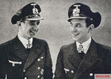 """From left to right: Oberleutnant (Ing.) Gerd Suhren and Oberleutnant zur See Reinhard """"Teddy"""" Suhren."""