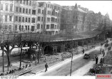Bomb damage to the elevated railway in Berlin-Schöneberg. The viaduct at the Buelowstraße was heavy distorted on 19 July 1944 after the explosion of a land mine.