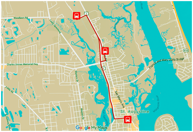 ST AUGUSTINE SPRING SHUTTLE ROUTE