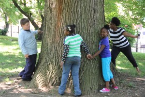A group of children circle one of the large old trees on the grounds
