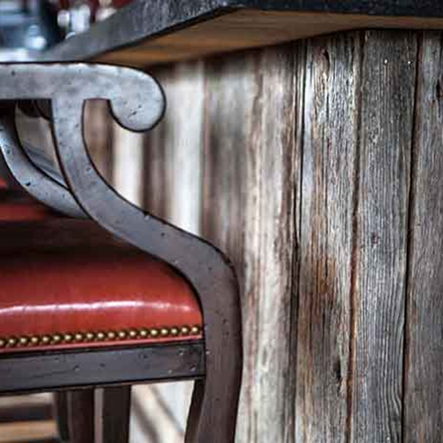 The Olde Farm Golf Club Bristol, VA – Freshly harvested Gray Barn Board surrounds the base of the bar in the Lodge Building.