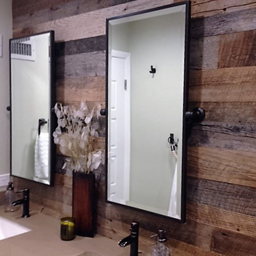 Plantation, FL private residence – Unfinished, but lightly sanded barnwood shiplap accent wall behind bathroom vanity. Brown and gray barn wood mix.