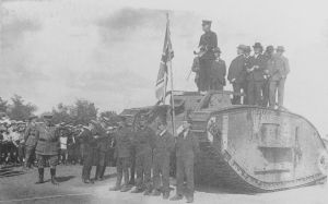 Gosport's Memorial tank being handed over by the military. it appears to bear the number 2809, which would make it 'Evangeline'.