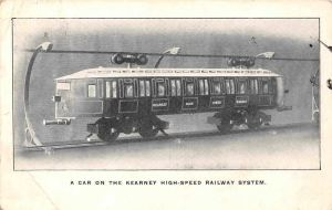 A postcard of the Kearney monorail car
