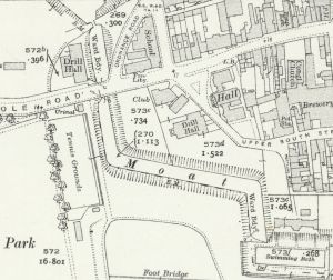 Free Library in 1938. Parts of the ramparts are still shown.