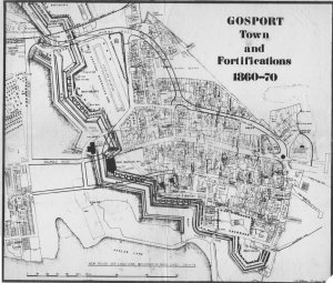 The Gosport Town Fortifications showing the three gates, with modern roads overlaid, drawn by the late Brian Patterson