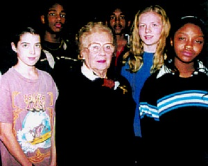 Esther Terner Raab with students.