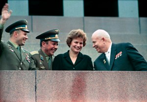 Nikita Khrushchev (right), first secretary of the CPSU Central Committee, and cosmonauts Valentina Tereshkova, Pavel Popovich (center) and Yuri Gagarin at the Lenin Mausoleum during a demonstration dedicated to the successful space flights of the Vostok-5 . RIA Novosti archive, image #159271 / V. Malyshev / CC-BY-SA 3.0