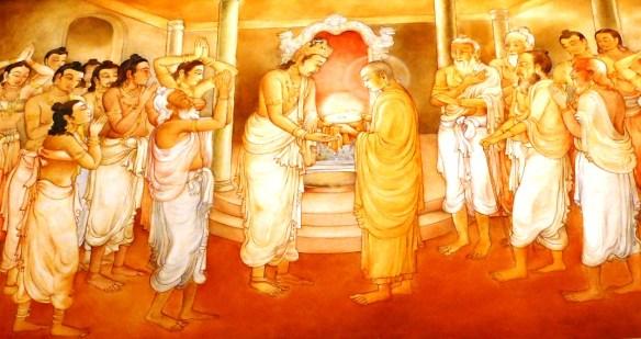 Mural representing the Presentation of the Buddha tooth relic, Candi Sri Lanka. photo: Marks Hinton
