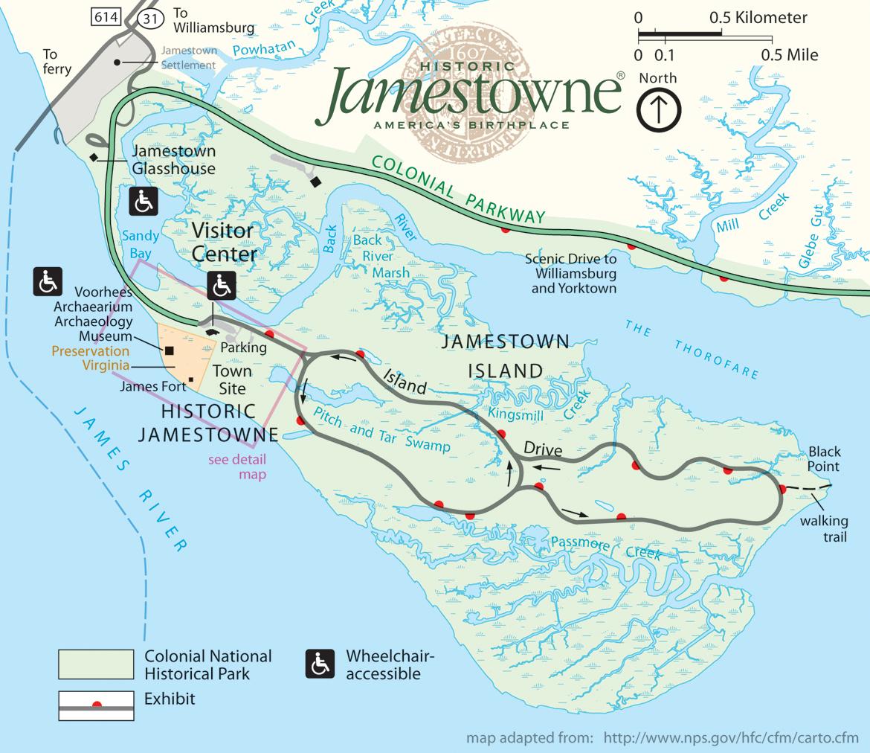 Jamestown Virginia Map