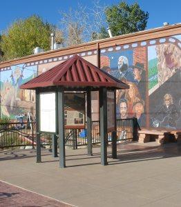 An interpretive kiosk was developed near the mural in downtown Morrison.