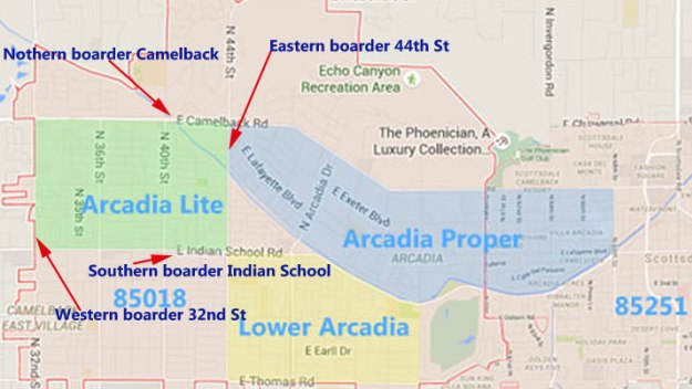 map,arccadia,neighborhood,phoenix,homes,arizona,realtor,85018,for sale,area,arcadia lite,camelback rd,indian school rd,lower arcadia,mountain