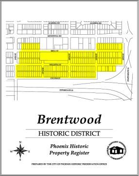 brentwood historic district,map,historic,district,neighborhood,area,phoenix,arizona,brentwood