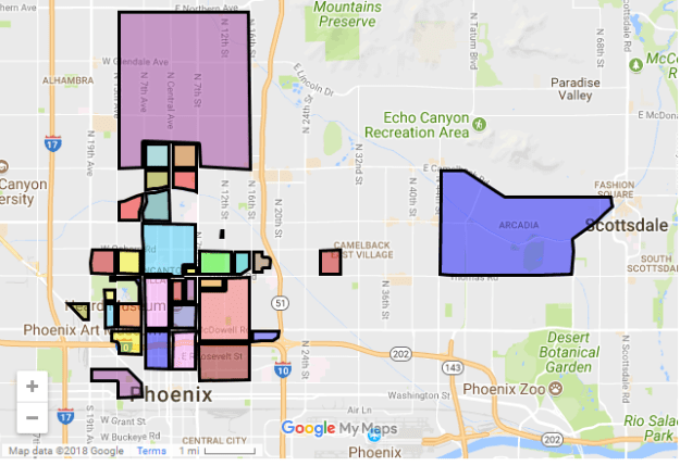 map,historic,districts,phoenix,az,central,downtown,arcadia