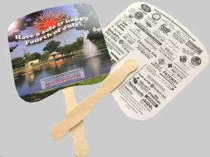 2500 Hand Fans will be given away July 4th.