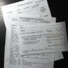 Paperwork involved when a citizen charges an intruder with trespassing: a subpeona, a case summary, and location card.