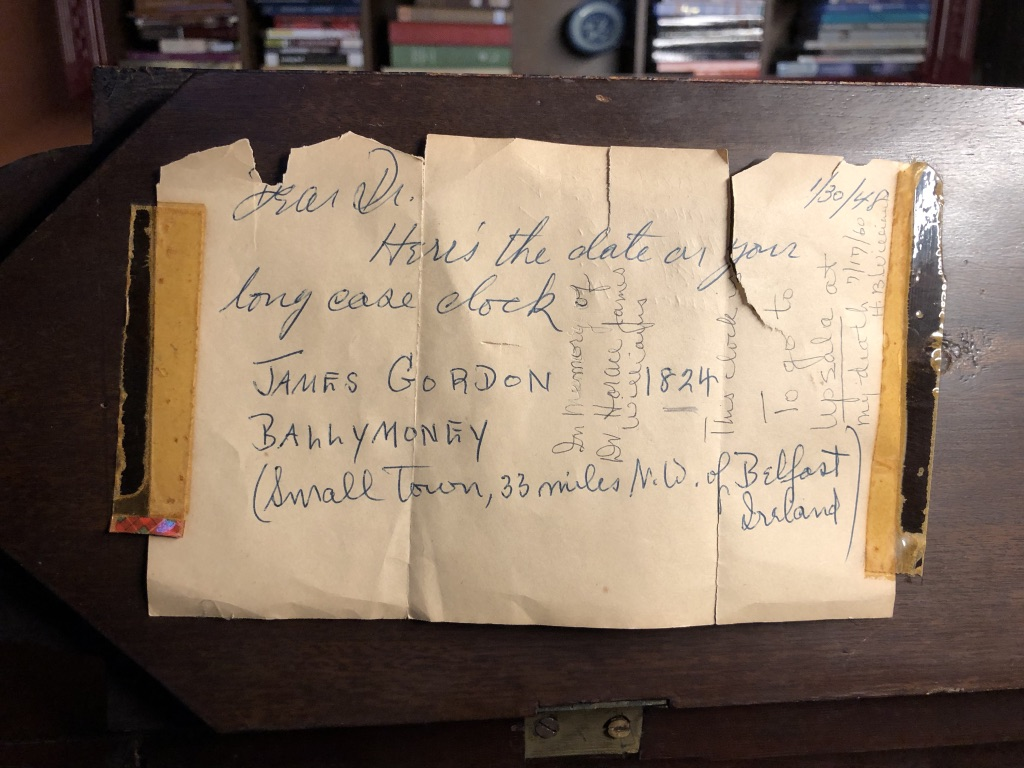 Old Note Found inside Antique Grandfather Clock