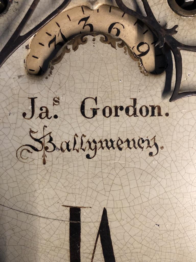 Grandfather Clock Face Closeup of Clockmaker James Gordon Ballymoney Ireland