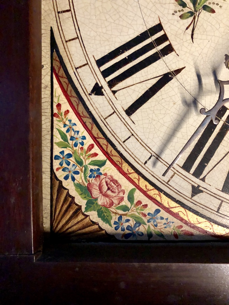 Corner Flower Detail on Grandfather Clock Face