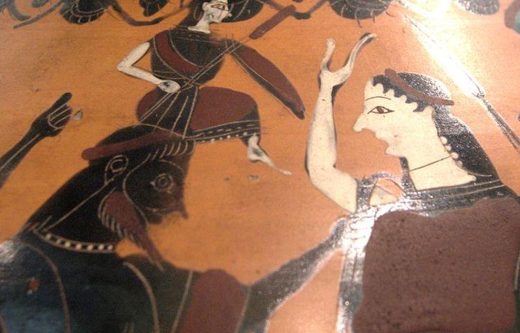 Geboorte van Athena uit het hoofd van Zeus. Eileithyia staat rechts om te assisteren