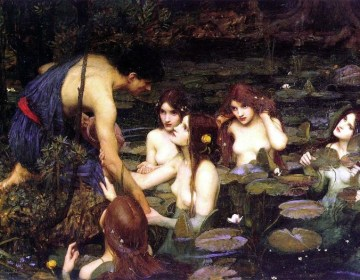 Hylas, de knecht van Herakles, wordt gelokt door de nimfen - John William Waterhouse