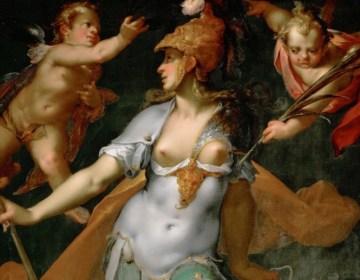 Minerva (Athena) als overwinnaar van de onwetendheid - Bartholomeus Spranger, 1591