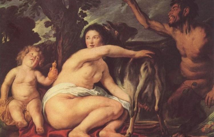 De Jeugd van Zeus door Jacob Jordaens (ca. 1630). Amalthea wordt voorgesteld als de nimf die de geit melkt.