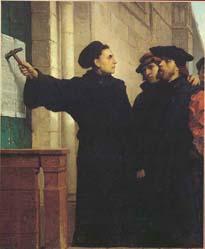 """Uitbeelding van het verhaal dat Luther zijn """"95 stellingen"""" op de deur van de slotkerk te Wittenberg gespijkerd zou hebben (Ferdinand Pauwels, 1872)"""