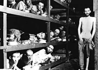Foto genomen in een barak in een concentratiekamp
