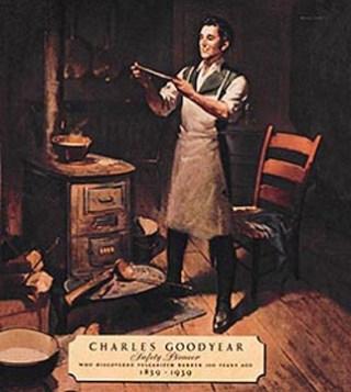 Goodyear doet zijn uitvinding bij de kachel
