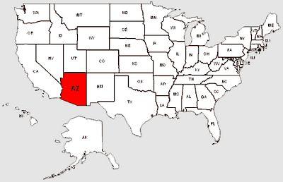 De staat Arizona in het rood gemarkeerd