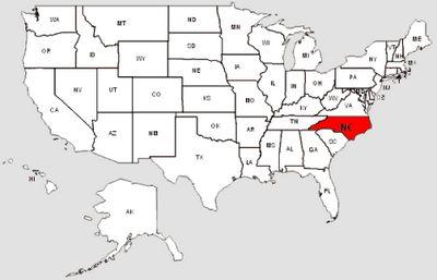 De staat North Carolina in het rood gemarkeerd
