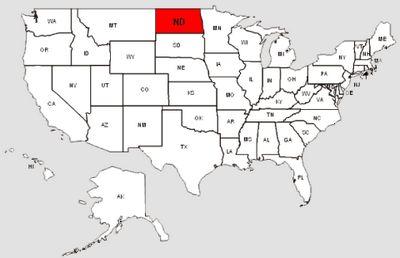 De staat North Dakota in het rood gemarkeerd