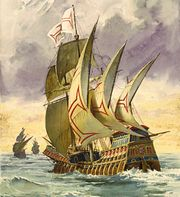 Schilderij van het schip van Da Gama (Luís de Camões, 1880)
