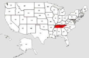 De staat Tennessee in het rood gemarkeerd