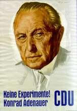 CDU-verkiezingsposter met daarop de beeltenis van Adenauer