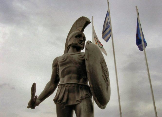 Beeld van Leonidas in Sparta