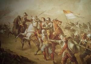 Adolf van Nassau sneuvelt tijdens de Slag bij Heiligerlee