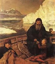Hudson met zijn zoon John in een klein bootje na de muiterij (John Collier, 1881)