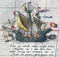 Magalhães' schip de Victoria (Ortelius, 1590)
