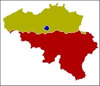De Belgische gewesten. Het Vlaams gewest, Brussels Hoofdstedelijk Gewest (blauw) en het Waals Gewest (rood)
