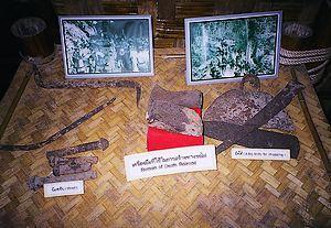 Gereedschap dat de krijgsgevangenen gebruikten bij de aanleg van de Birma-Siamspoorlijn