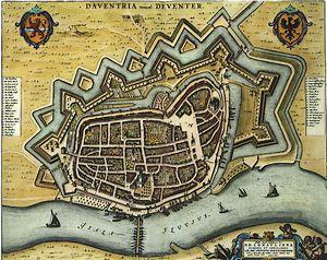Deventer op een kaart uit 1652