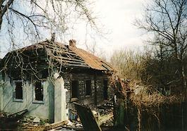 Verlaten huis in de omgeving van de kerncentrale van Tsjernobyl