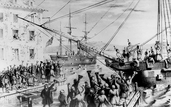 Litho van de 'Boston Tea Party' | Sarony & Major, 1846